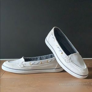 White Canvas Sperry Shoes